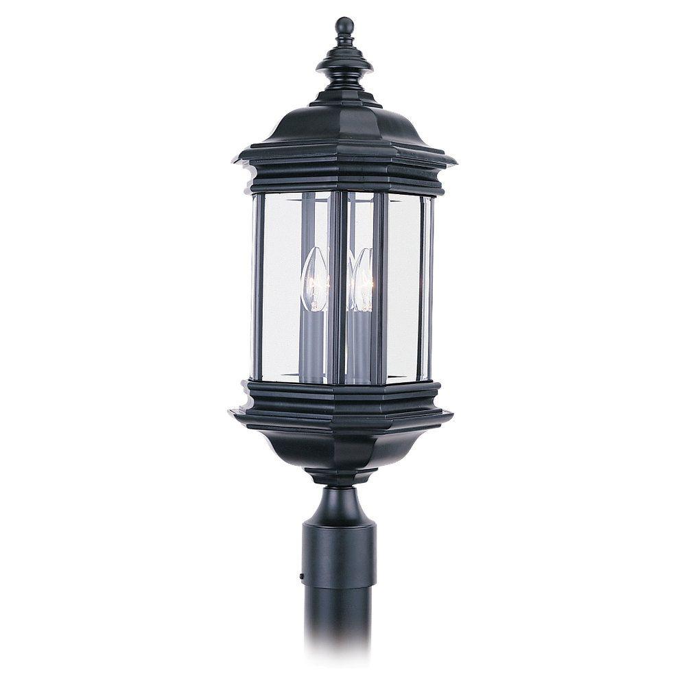3 Light Black Incandescent Outdoor Post Lantern