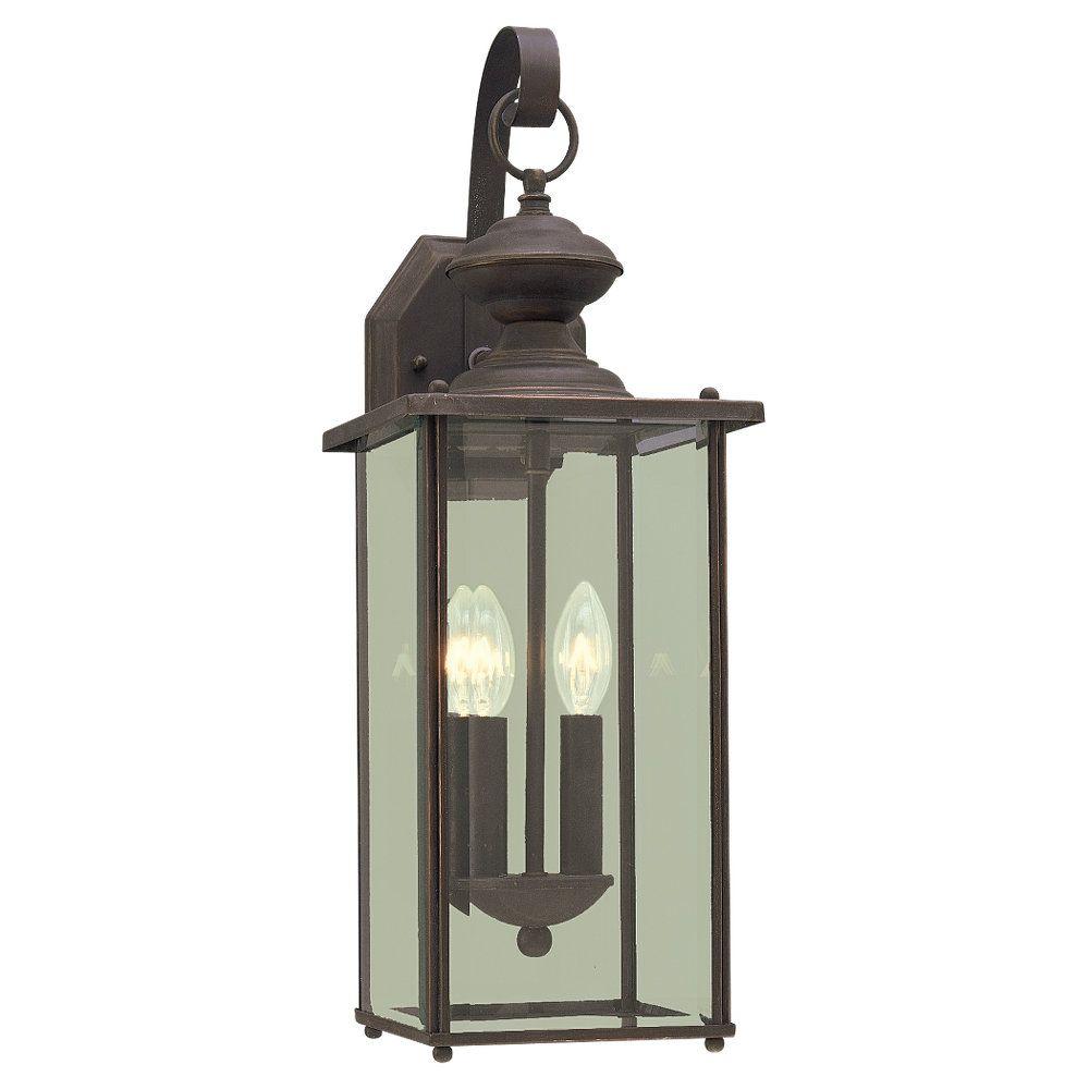 2 Light Antique Bronze Incandescent Outdoor Wall Lantern