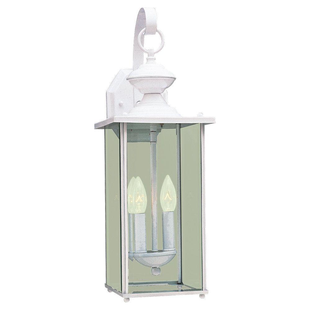 Lumière Seagull fixée au mur à deux ampoules avec abat-jour clair, Fini blanc