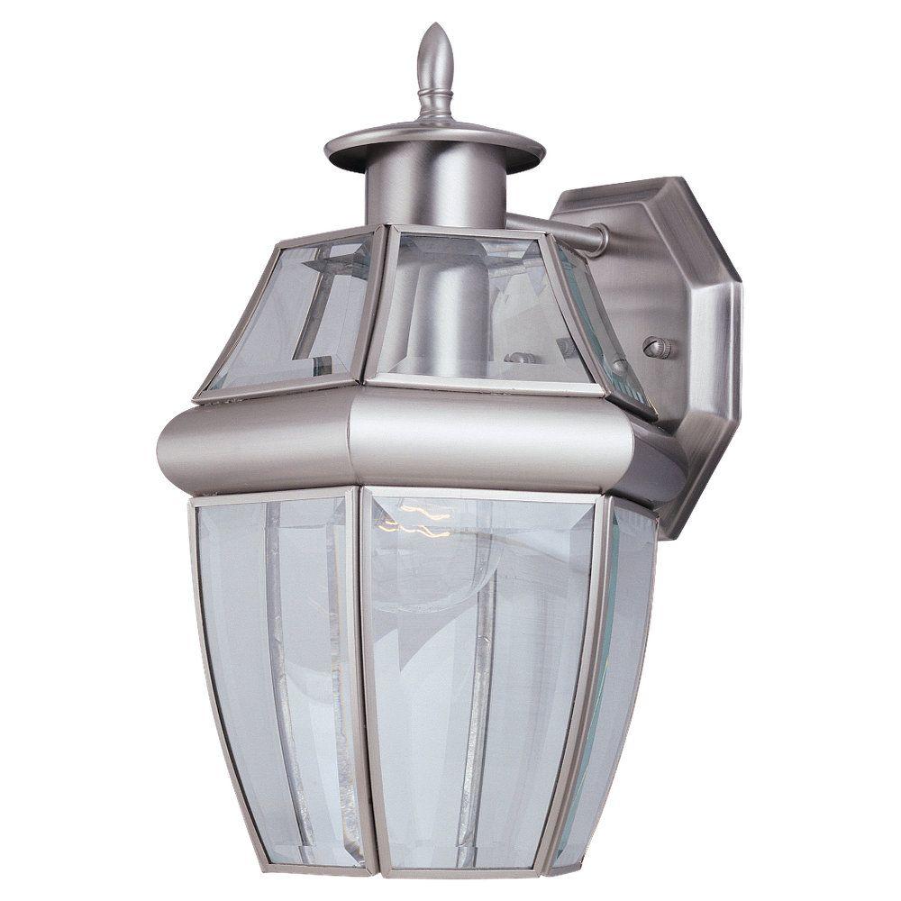 1-Light Antique Brushed Nickel Outdoor Wall Lantern