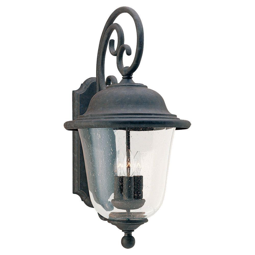 Lumière Seagull fixée au mur à trois ampoules avec abat-jour clair, Fini bronze