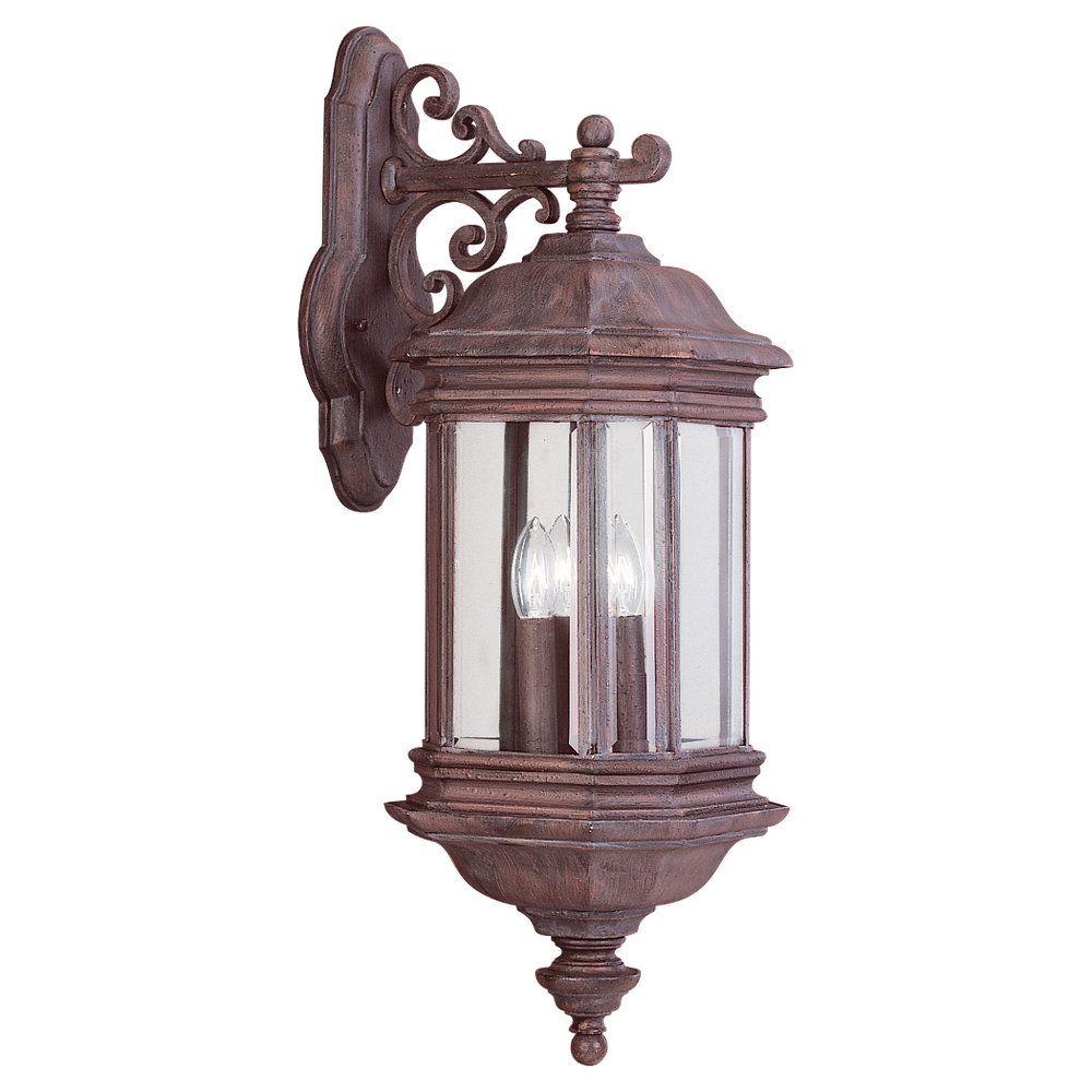 3 Light Textured Rust Patina Incandescent Outdoor Wall Lantern