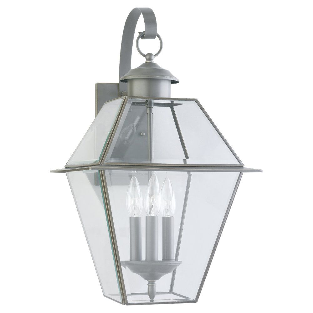 3-Light Antique Bronze Outdoor Wall Lantern