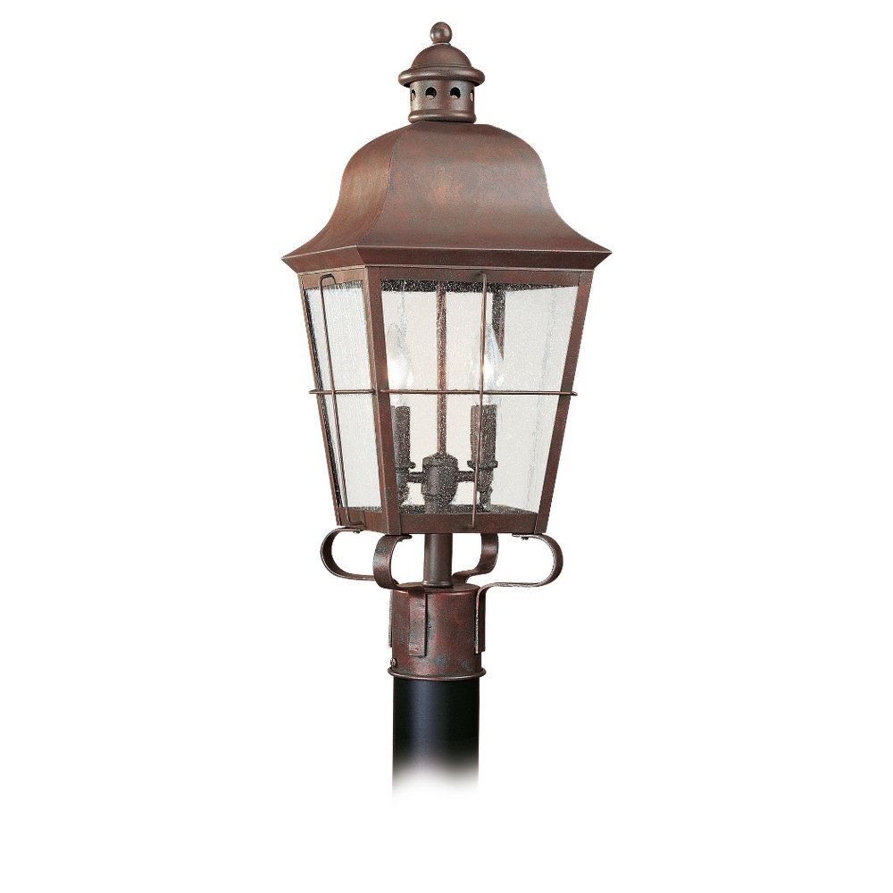 2 Light Weathered Copper Incandescent Outdoor Post Lantern