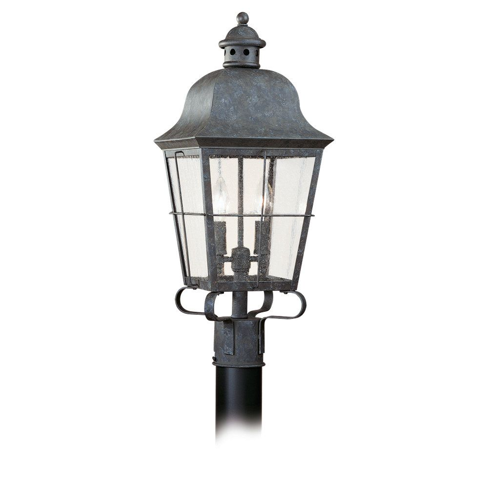 2 Light Oxidized Bronze Incandescent Outdoor Post Lantern
