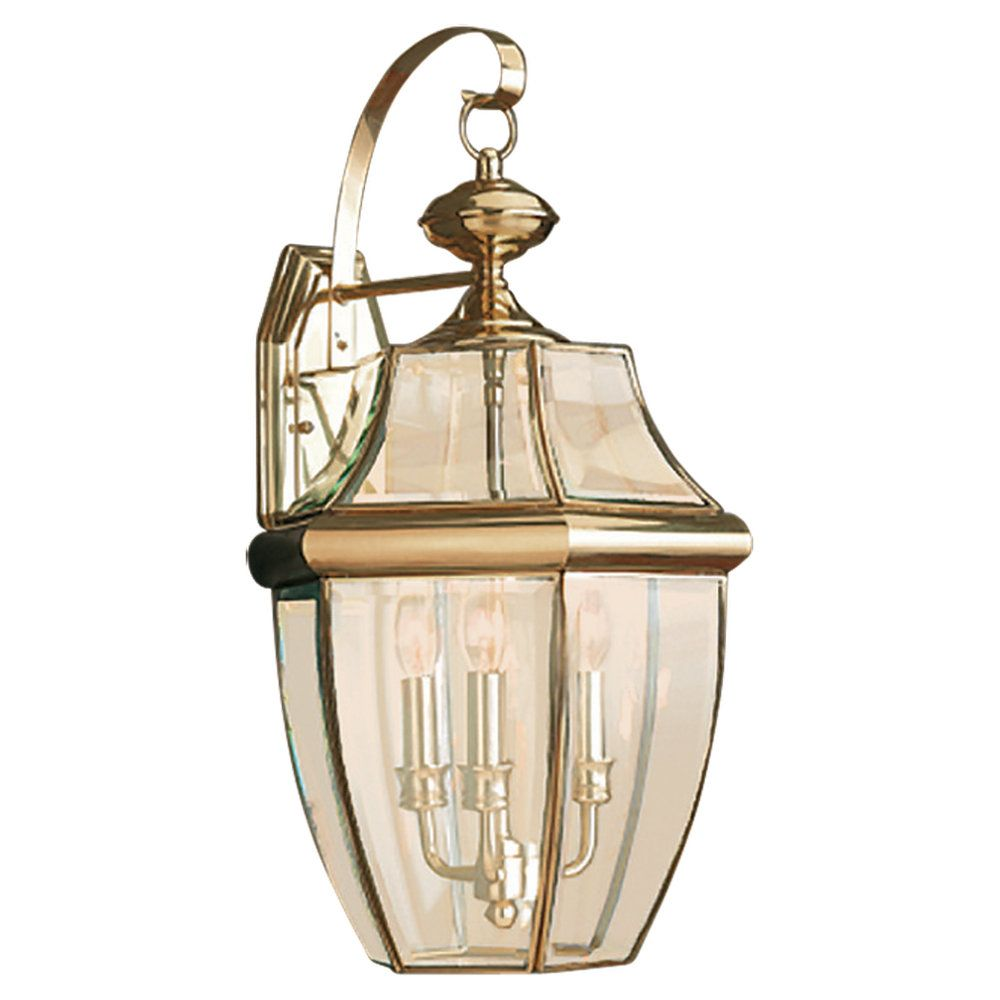 3 Light Polished Brass Incandescent Outdoor Wall Lantern