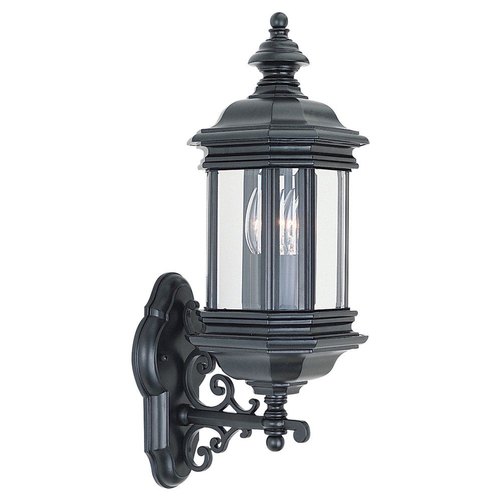 2 Light Black Incandescent Outdoor Wall Lantern