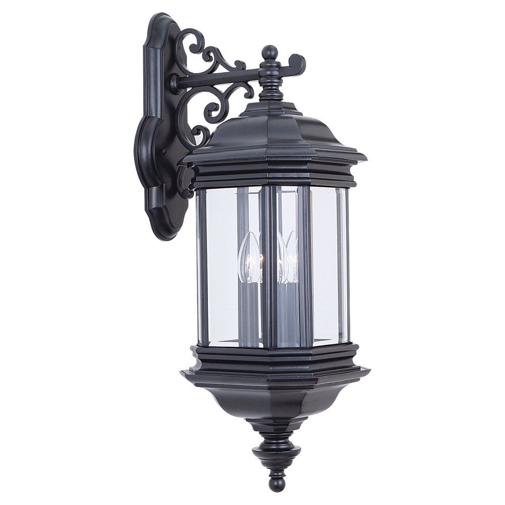 3 Light Black Incandescent Outdoor Wall Lantern
