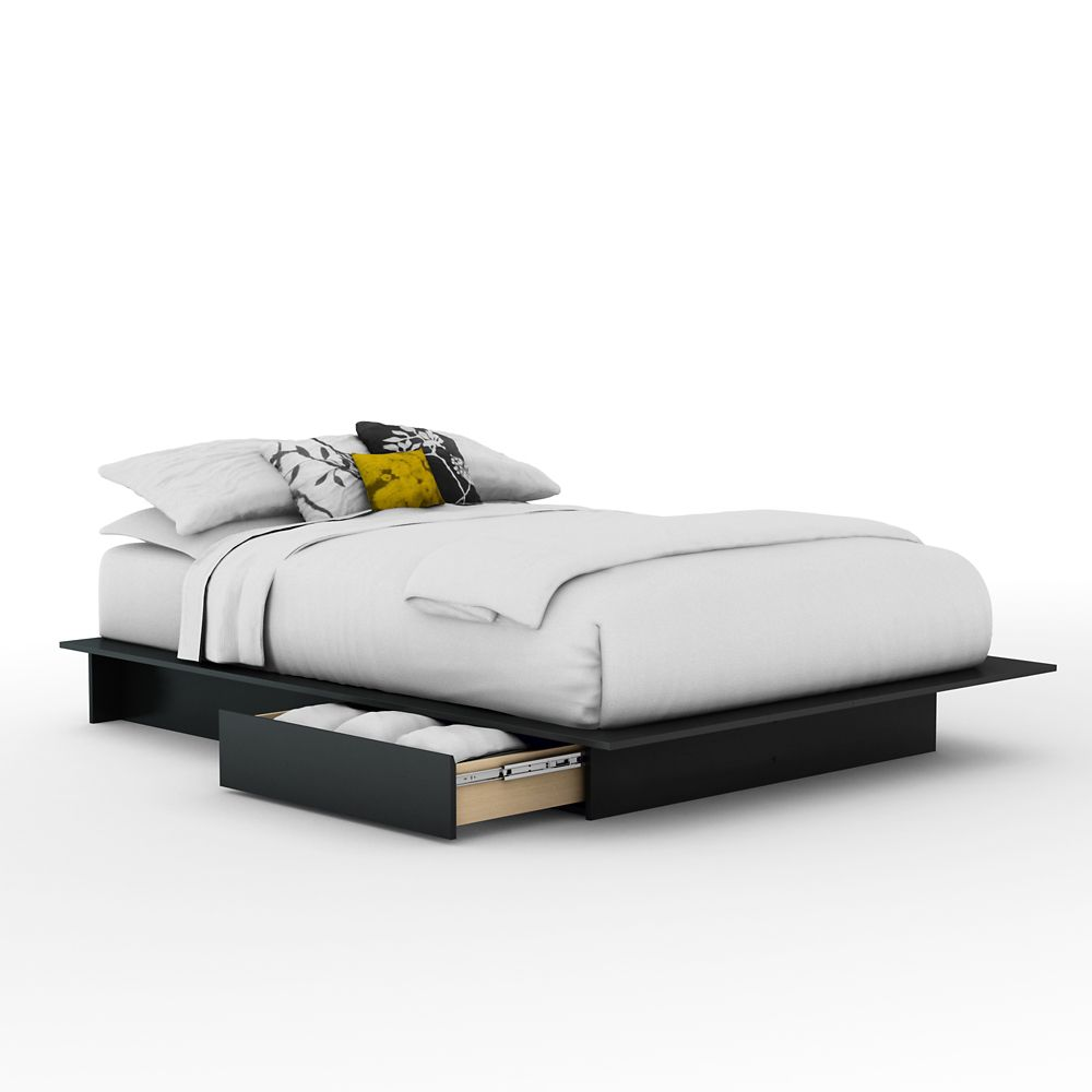 Queen Platform Bed with Drawers in Pure Black