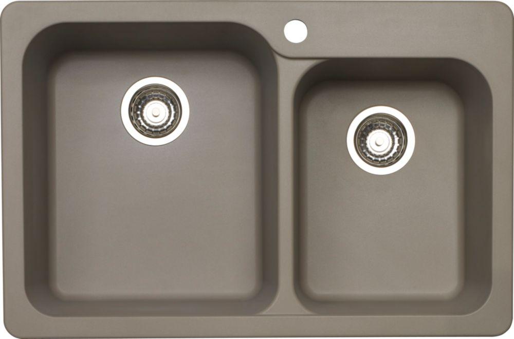 Silgranit, Natural Granite Composite Topmount Kitchen Sink, Truffle