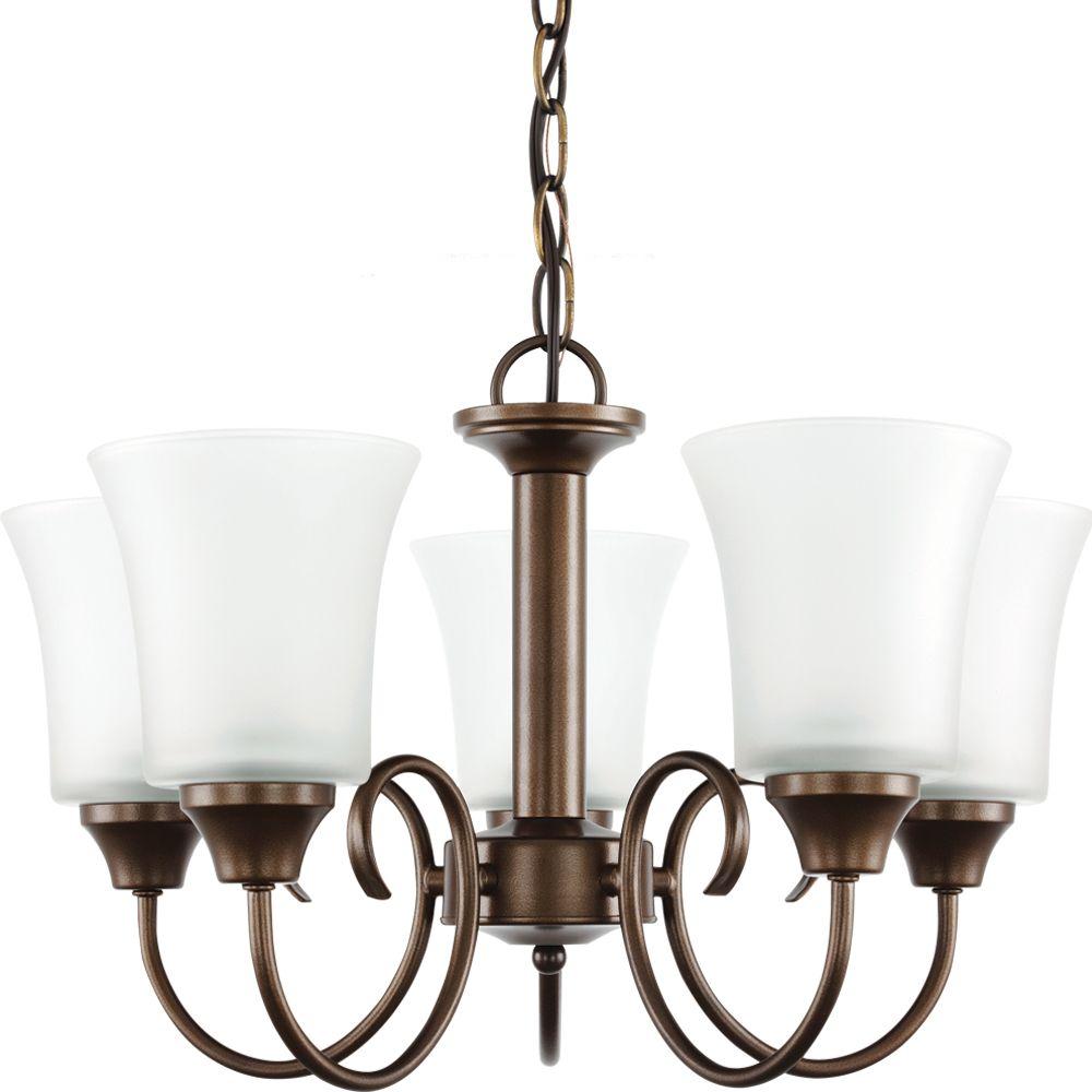 5 lumières métal de Bell Bronze Lustre Fluorescent