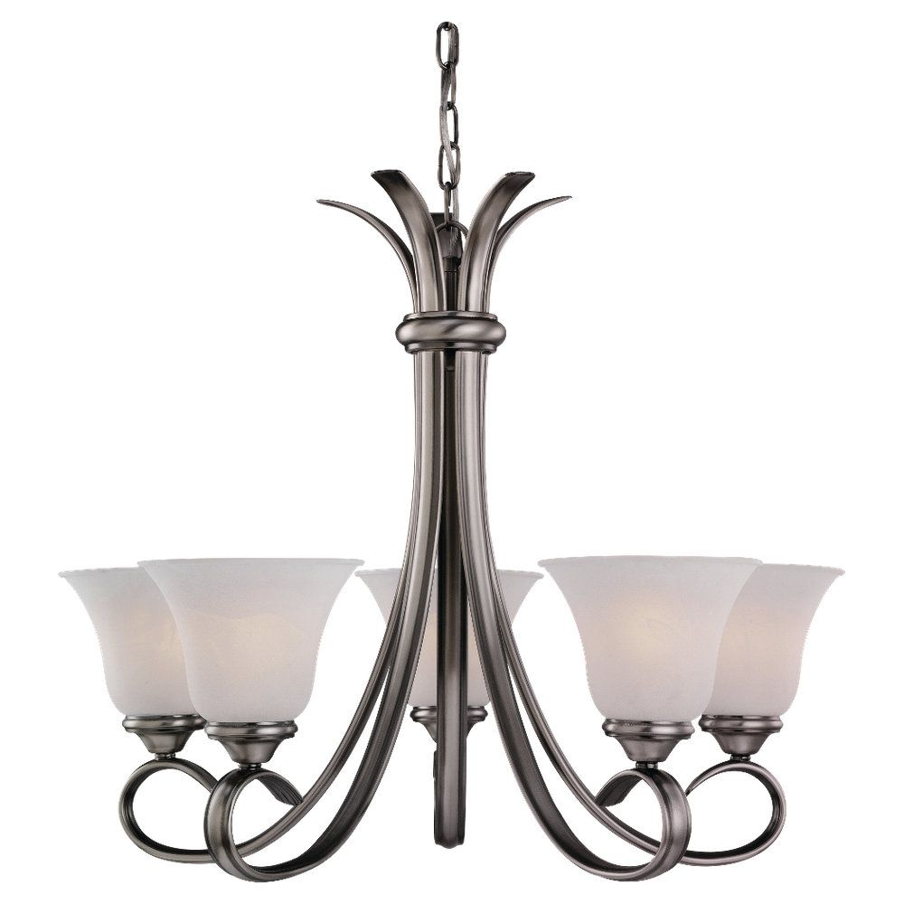 5 Light Antique Brushed Nickel Incandescent Chandelier