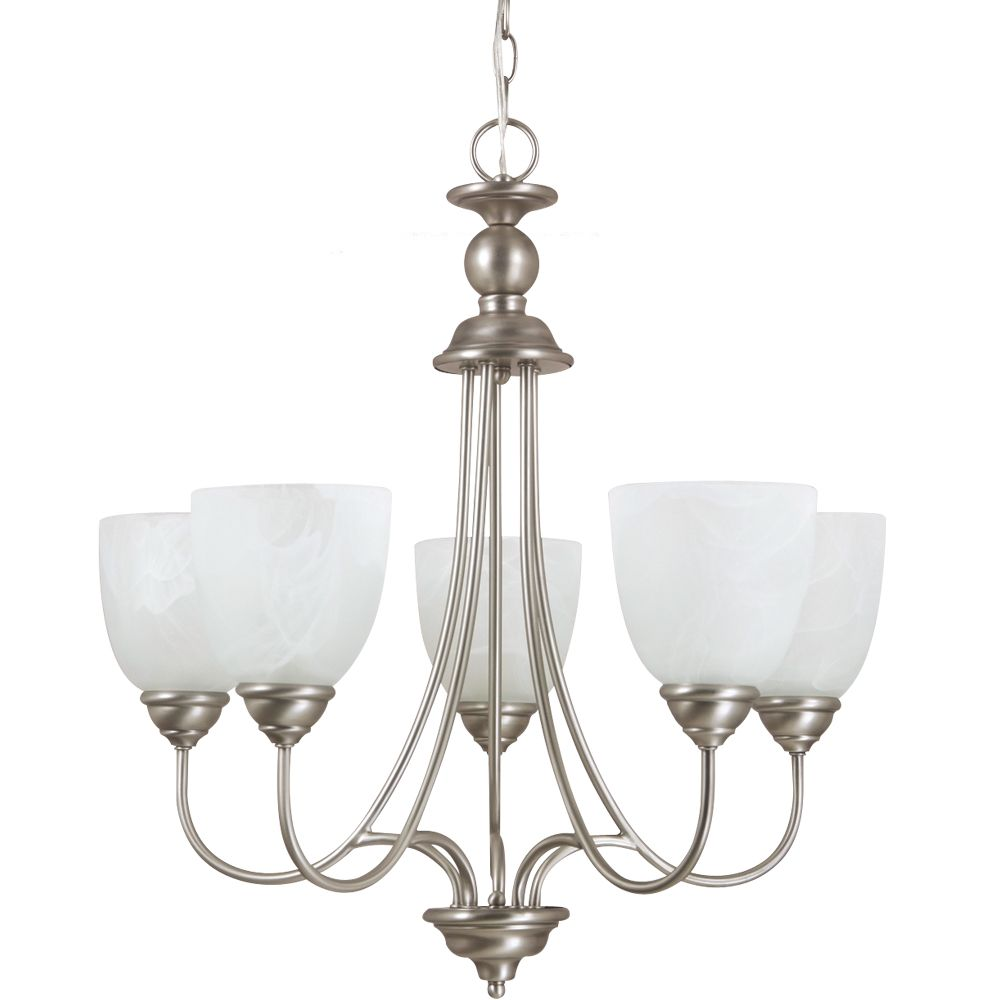 5 Light Antique Brushed Nickel Fluorescent Chandelier