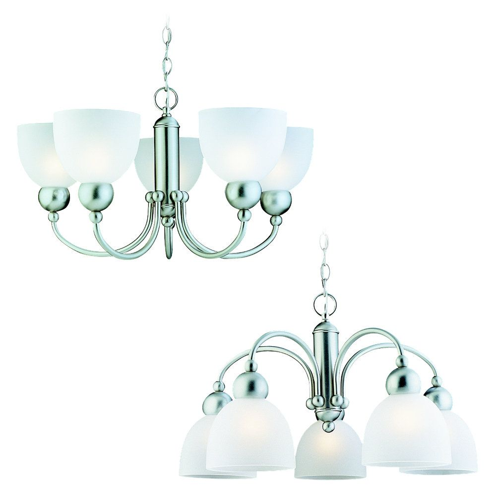 5 Light Brushed Nickel Fluorescent Chandelier