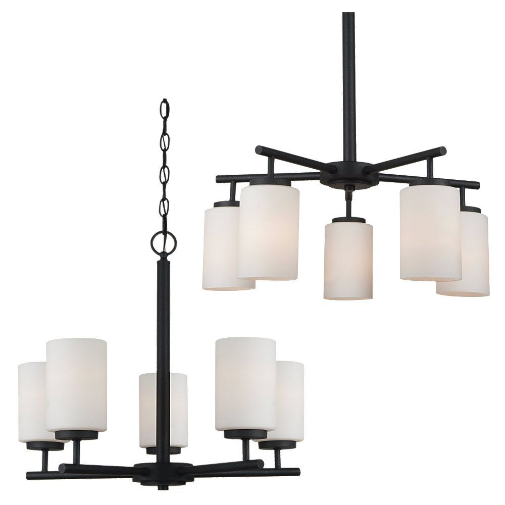 sea gull lighting lustre seagull cinq ampoules avec abat jour de sp cialit fini noir home. Black Bedroom Furniture Sets. Home Design Ideas