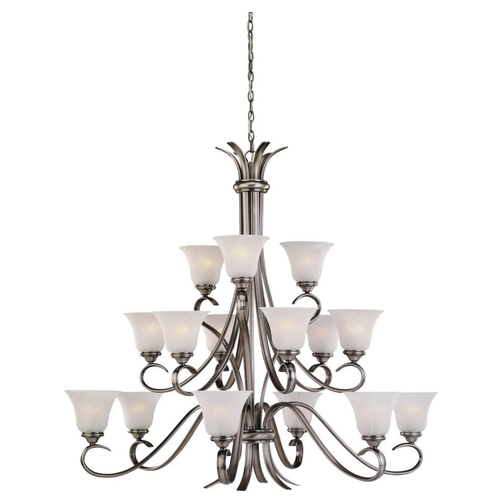15 Light Antique Brushed Nickel Incandescent Chandelier