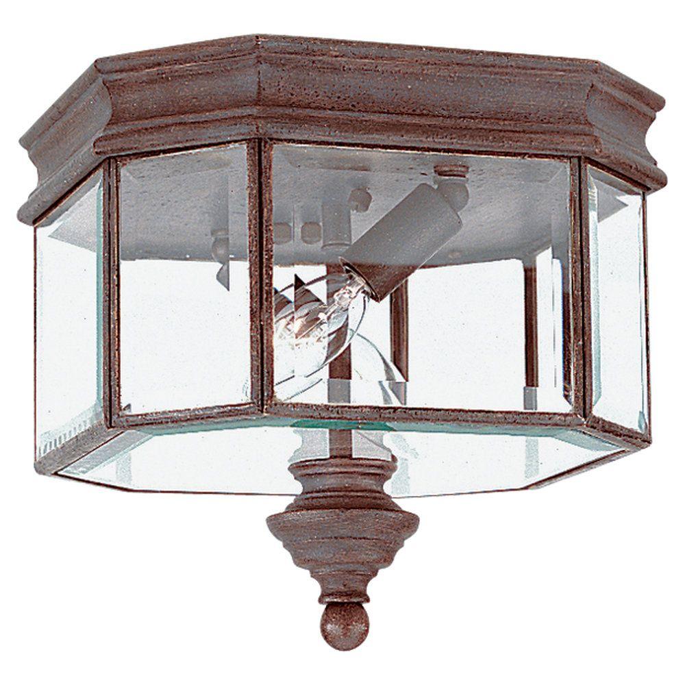 2 Light Textured Rust Patina Incandescent Outdoor Ceiling Fixture