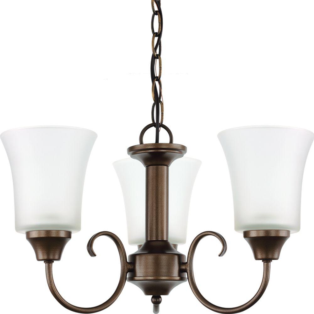 3 Light Bell Metal Bronze Fluorescent Chandelier