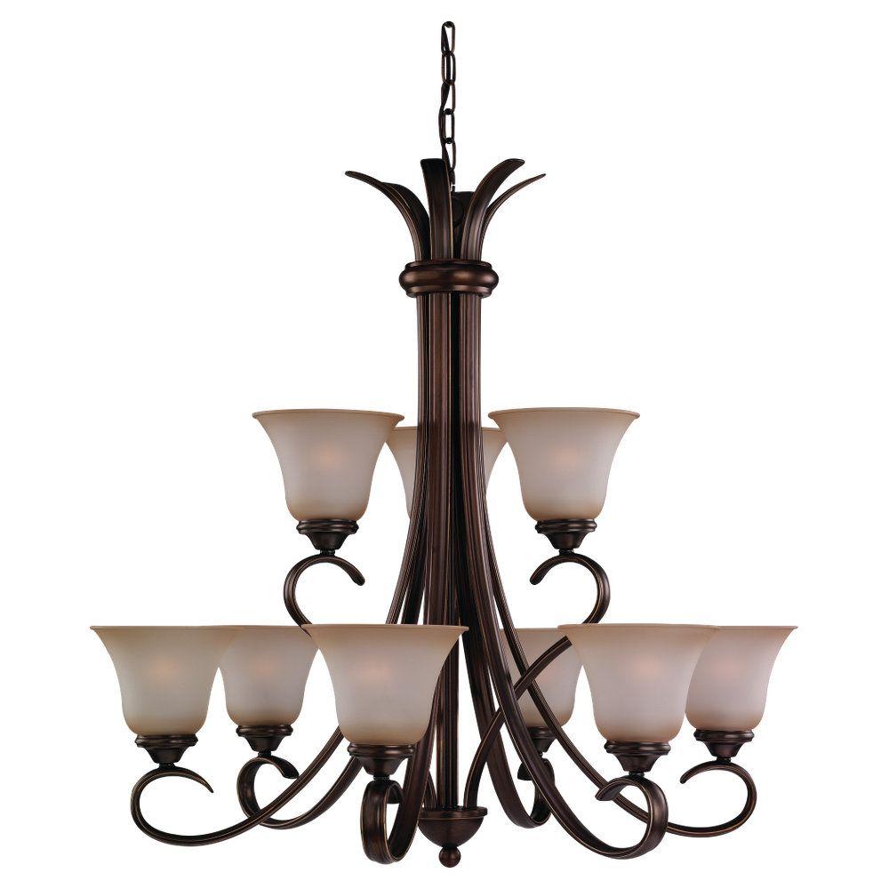 9 lumières Russet Lustre à incandescence Bronze