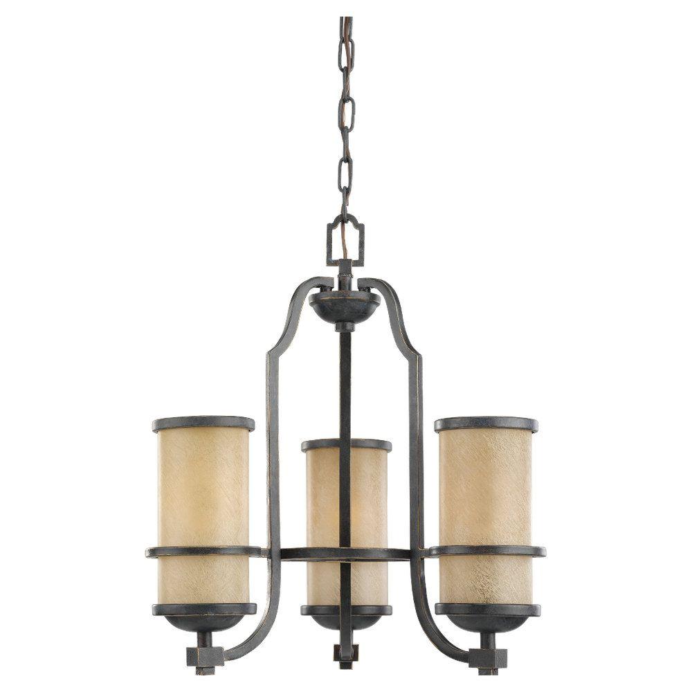 3 lumières flamand Lustre Bronze Incandescent