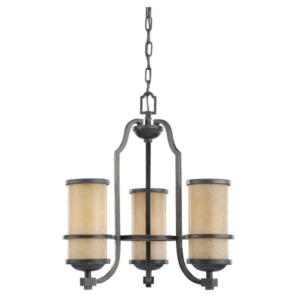 3-Light Flemish Bronze Chandelier