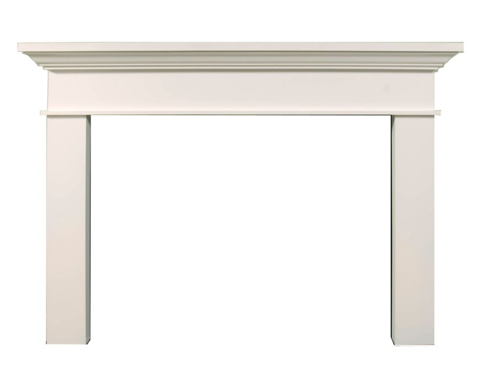 Traditional Mantel Kit White Painted Finish - 76-1/16 Inches Wide x 55-3/4 Inches High