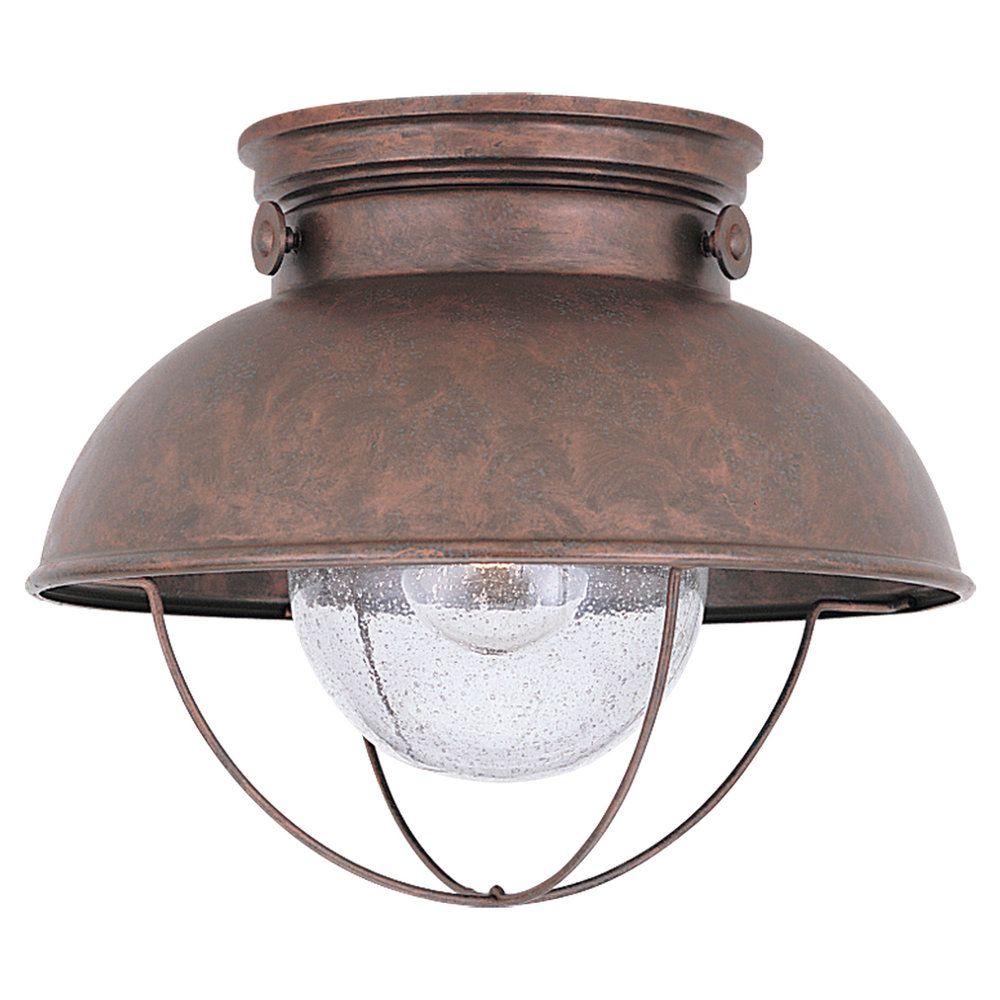 1 Light Weathered Copper Incandescent Outdoor Ceiling Fixture