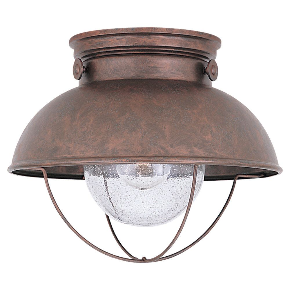 1-Light Weathered Copper Outdoor Ceiling Fixture