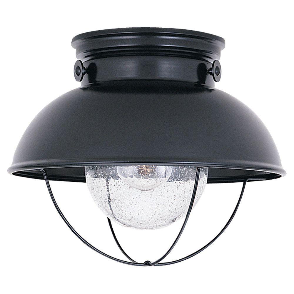 1-Light Black Outdoor Ceiling Fixture