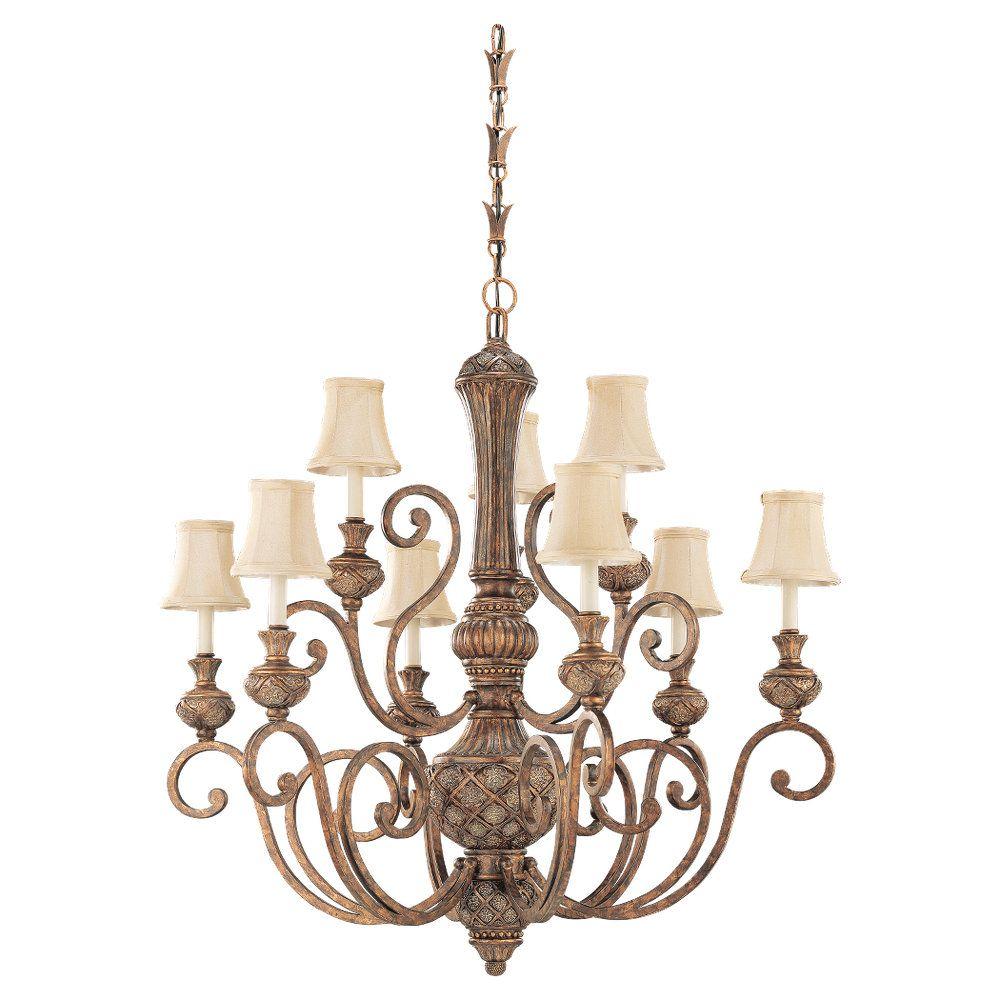 9-Light Regal Bronze Chandelier