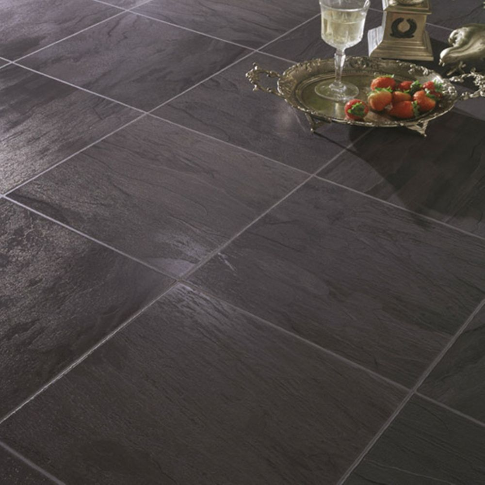 Hampton bay black slate laminate flooring sq ft for Square laminate floor tiles