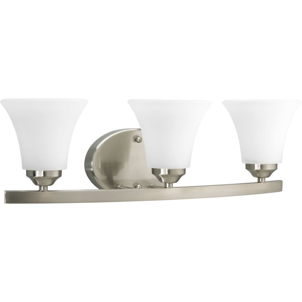 Progress lighting adorn collection brushed nickel 3 light vanity fixture the home depot canada for Brushed nickel bathroom lighting fixtures