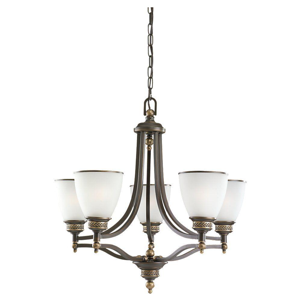 5 lumières immobilier Bronze Lustre à incandescence