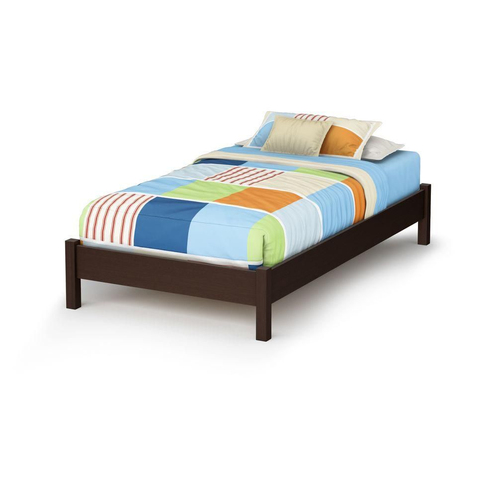 Lux Twin Platform bed with Legs Chocolate