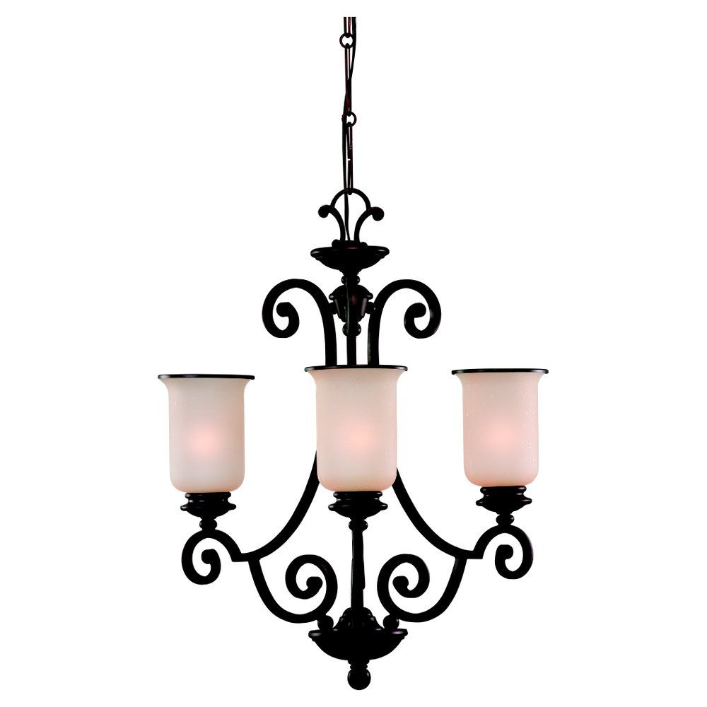 3-Light Misted Bronze Chandelier
