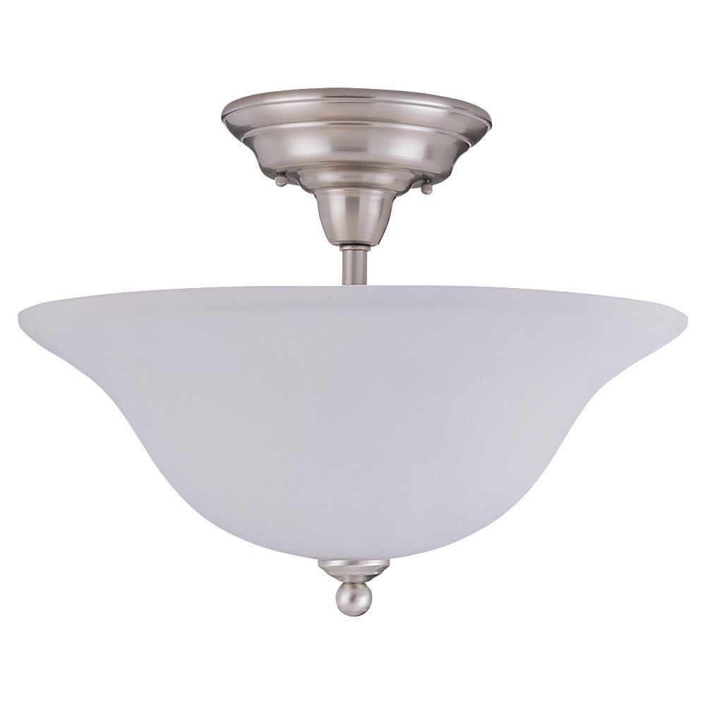 3 Light Brushed Nickel Fluorescent Ceiling Fixture