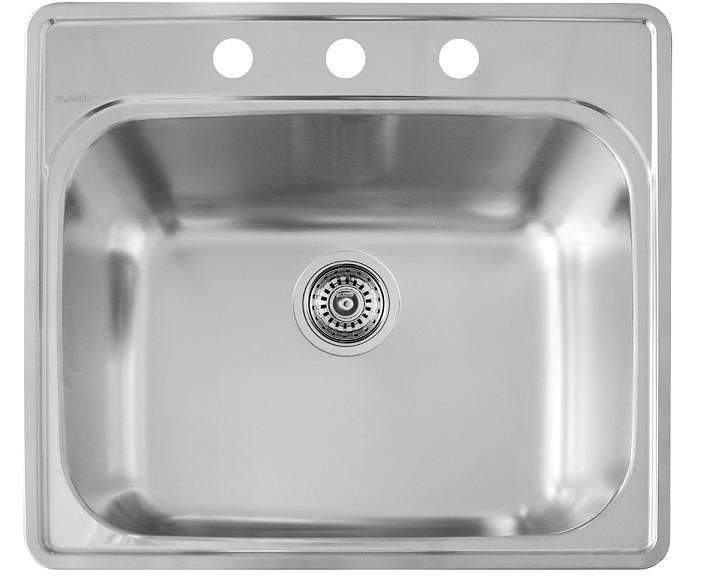 Bac de lavage en acier inoxydable, 1 cuve, 3 trous, montage en surface