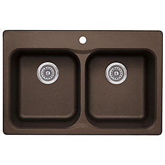 Vision 210 Double Bowl Drop-in Kitchen Sink, SILGRANIT Granite Composite