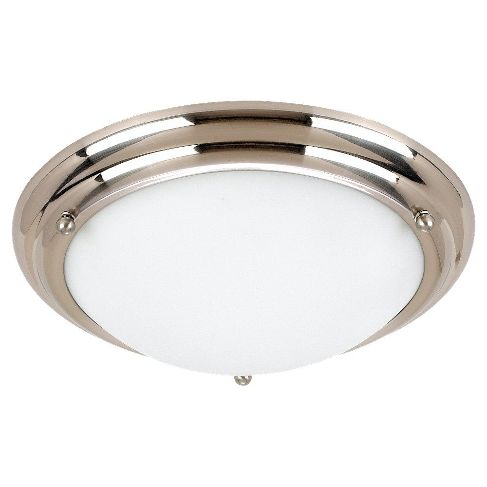 2-Light Brushed Stainless Ceiling Fixture