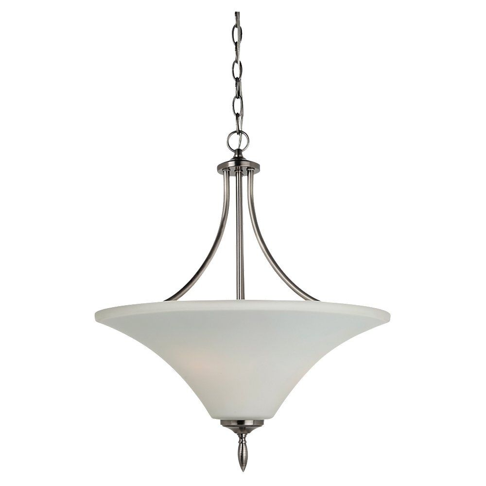 Lustre Seagull à trois ampoules avec abat-jour blanc, finition de spécialité