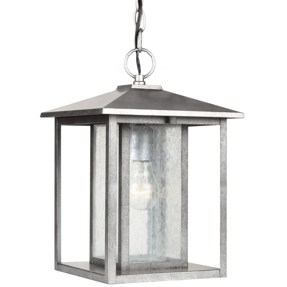 1-Light Weathered Pewter Outdoor Pendant