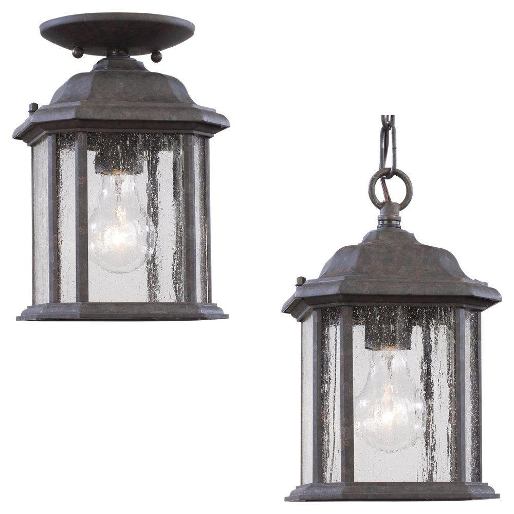 Lustre Seagull à une ampoule avec abat-jour clair, Fini bronze