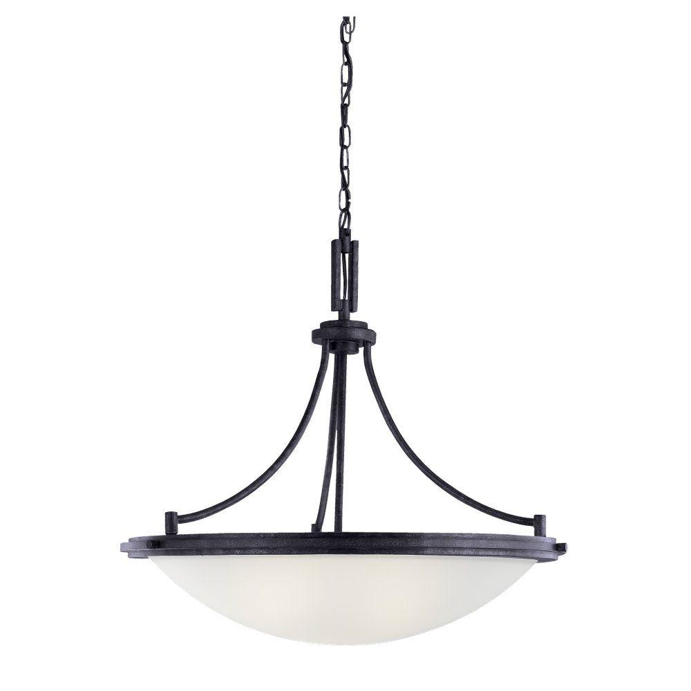 Lustre Seagull à quatre ampoules avec abat-jour de spécialité, Fini noir