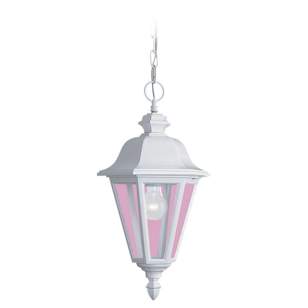 1-Light White Outdoor Pendant