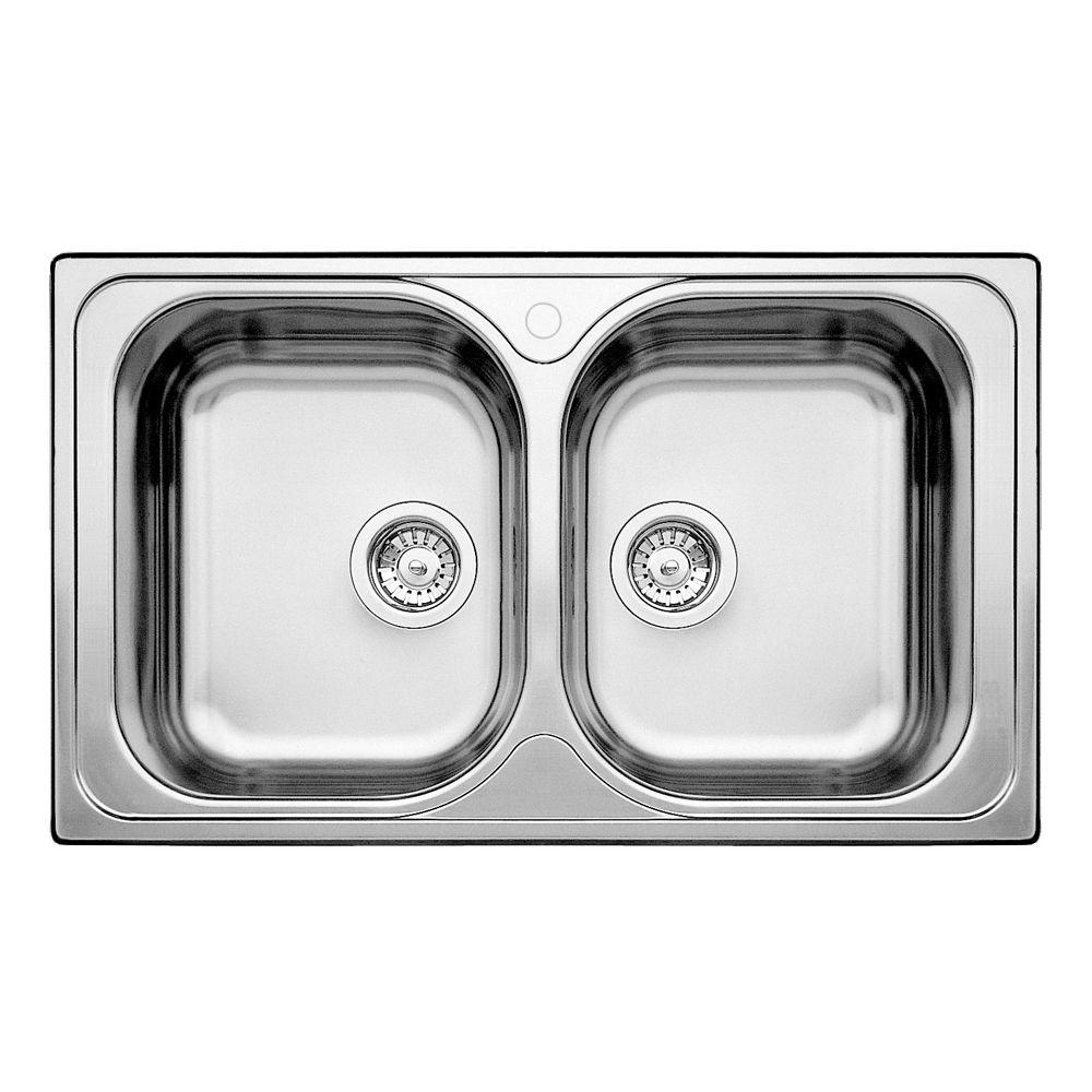 2 Bowl Topmount Stainless Steel Kitchen Sink SOP315 in Canada