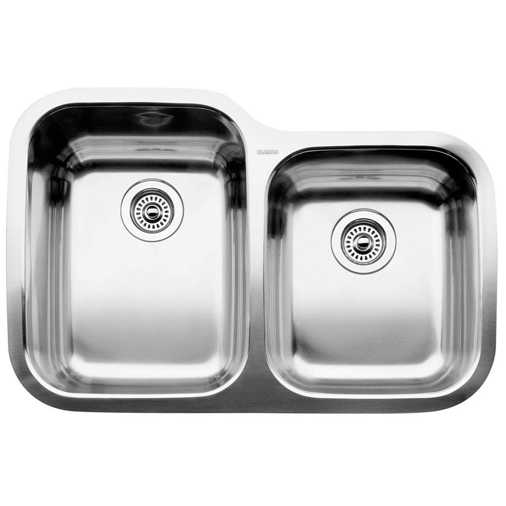 Évier de cuisine en acier inoxydable, 1 3/4 cuves, montage sous plan