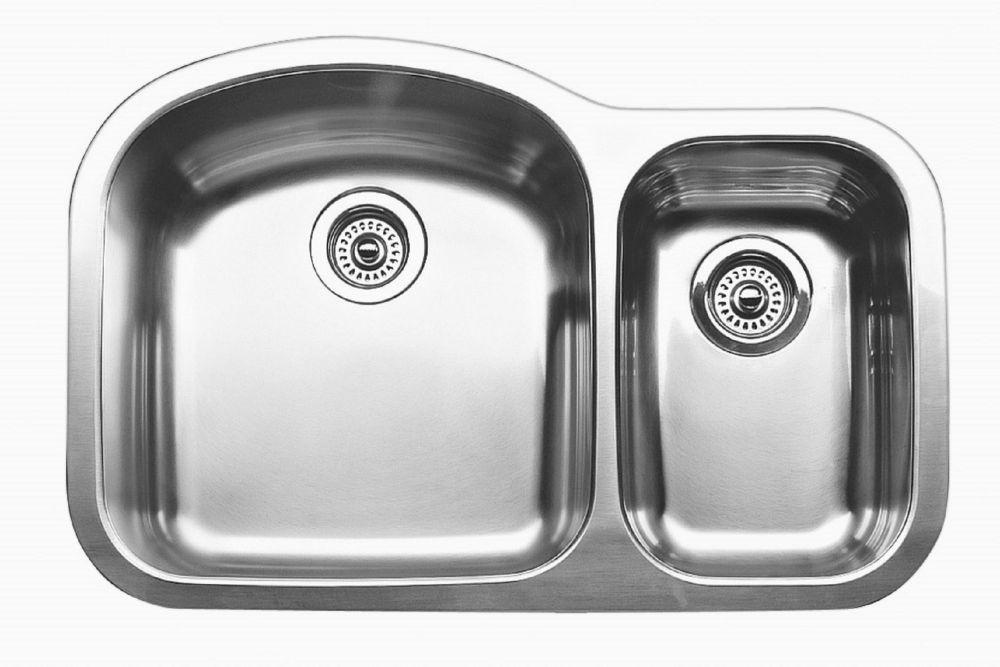 Évier de cuisine en acier inoxydable, 1 1/2 cuves, montage sous plan