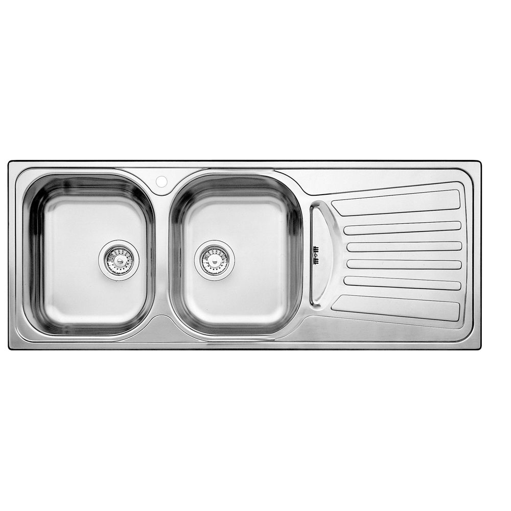 2 Bowl, Right-Hand Drainboard Topmount Stainless Steel Kitchen Sink