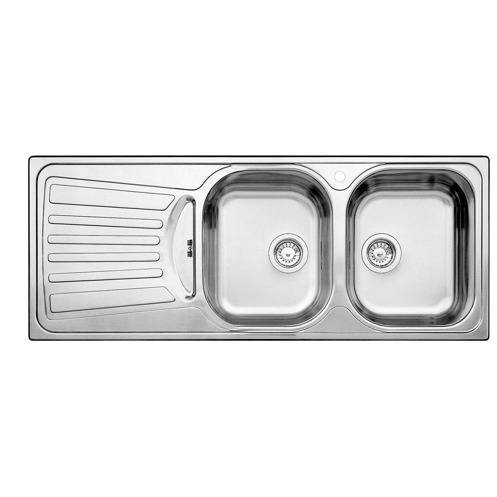 Évier de cuisine en acier inoxydable, 2 cuves, égouttoir à gauche, montage en surface