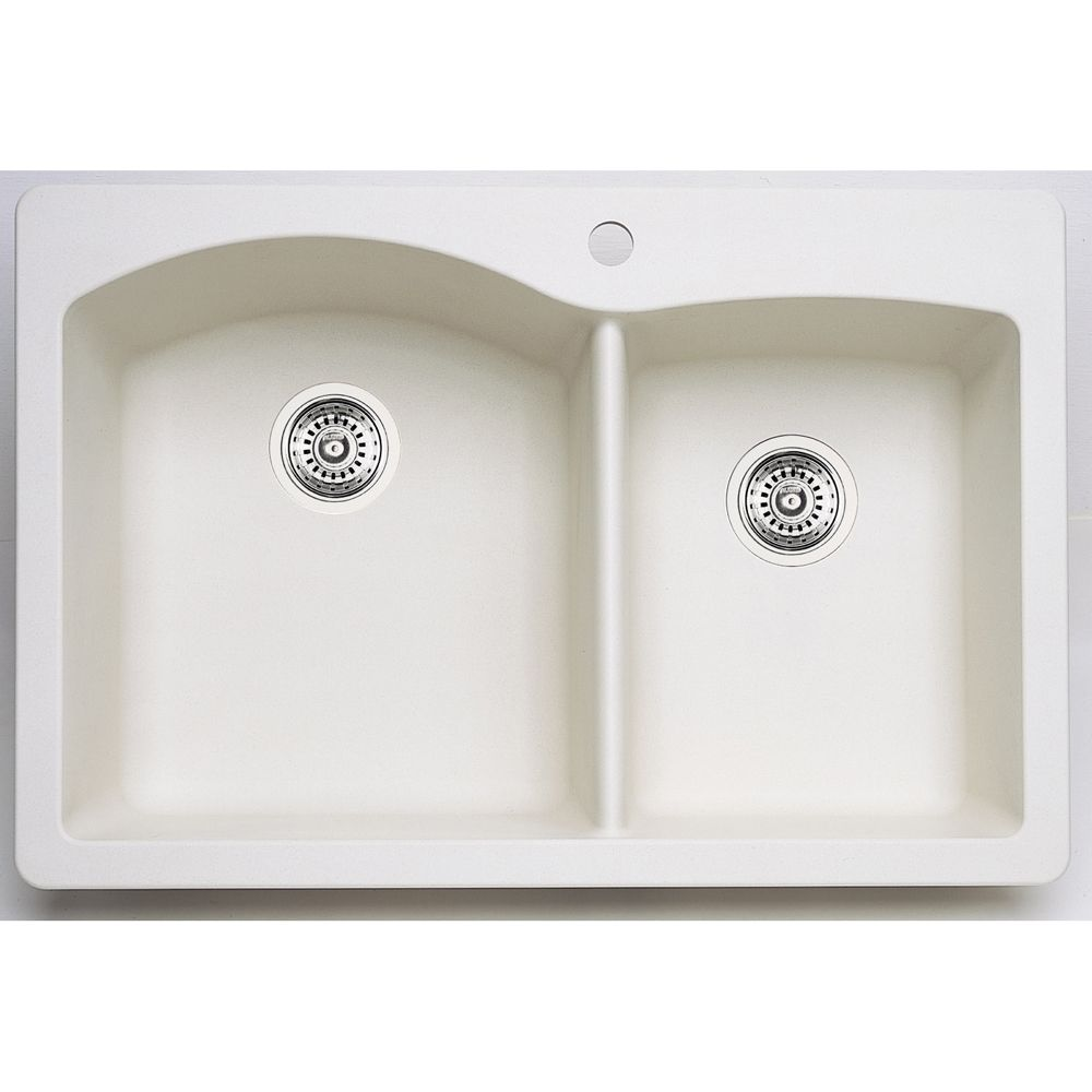 Blanco Silgranit Natural Granite, 1 3/4 Bowl Top Mount Sink, White
